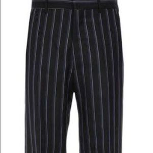 Lanvin Striped Loose Wool Blend Trousers Pants
